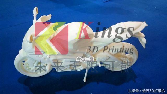 金石3D打印机制作的这辆摩托车模型在广州会展持续火爆